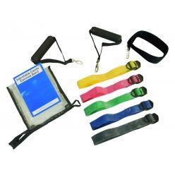 CanDo® Adjustable Exercise Band Kit - 5 Bänder (gelb, rot, grün, blau, schwarz)