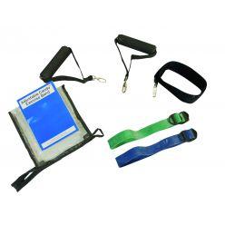 CanDo® Adjustable Exercise Band Kit - 2 Bänder moderat (grün, blau)