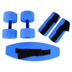 CanDo® deluxe Wassergymnastik-Set, (Jogginggürtel, Fußfesseln, Handstäbe), klein, blau