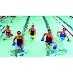 CanDo® deluxe Wassergymnastik-Set, (Jogginggürtel, Fußfesseln, Handstäbe), groß, rot